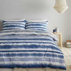 Catherine Lansfield Tie Dye Seersucker Reversible Duvet Cover Set Blue
