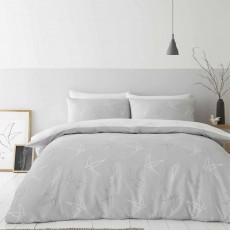 Catherine Lansfield Linear Swallows Reversible Duvet Cover Set Grey
