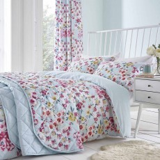 Catherine Lansfield Flower Patchwork Reversible Duvet Cover Set Duck Egg