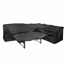 Heavy Duty Outdoor L Shaped Sofa Cover & Rectangular Table Top Cover Black