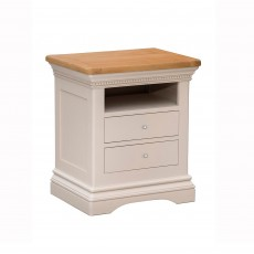 Bellingham 2 Drawer Bedside Locker Painted Off-White With Oak Top