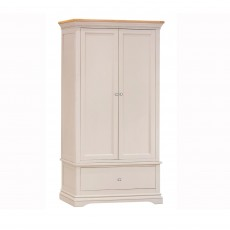 Bellingham 2 Door & 1 Drawer Wardrobe Painted Off White With Oak Top