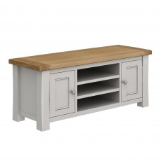 Colby TV/Entertainment Unit Painted Grey & Oak Top
