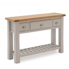 Colby Console Table Painted Grey & Oak Top