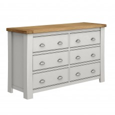 Colby 3 + 3 Drawer Chest of Drawers Painted Grey & Oak Top