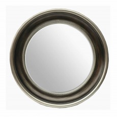 Charlotte Round Mirror Antique Silver