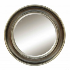 Emily Round Mirror Antique Silver