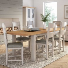 Colby Dining Chair Painted Grey With Grey Fabric Seat Pad