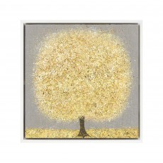 Artko Ochre Blossom Small 44cm x 44cm Picture White Frame by Nicky Chubb