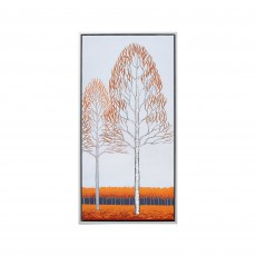 Artko Red Poplars III 44cm x 84cm Picture Silver Frame by Angela Waghorn