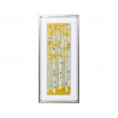 Artko Birch Tree I 33cm x 73cm Picture Grey Frame Fused Glass