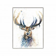Artko Long Horn Stag 64cm x 84cm Picture White Frame by Lisa Jayne Holmes