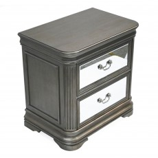 Rochelle 2 Drawer Bedside Locker Taupe & Mirrored