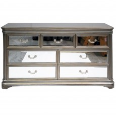 Rochelle 4 + 3 Drawer Chest of Drawers/Sideboard Taupe & Mirrored