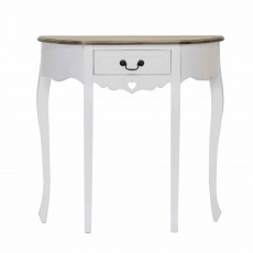 Denham 1 Drawer Half Moon Shaped Console Table White