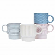 Simply Home Reactive Glaze Pastels Stacking Mugs (Set of 4)  Multi-Coloured