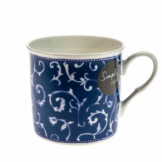 Simply Home Traditional Blue Damask Mug Blue & White