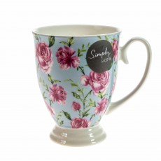 Simply Home Classic Rose Footed Mug Pink & White