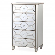 Ashley 5 Drawer Tallboy Mirrored