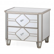 Ashley 2 Drawer Bedside Locker Mirrored