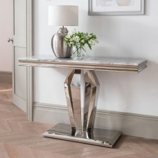Ernest Console Table Stainless Steel & Marble Top