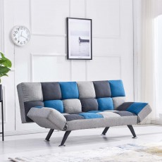 Rathlin 3 Seater Sofa Bed Fabric Teal & Grey Patchwork