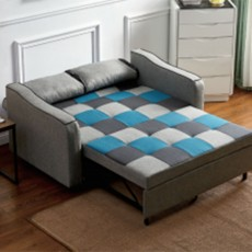 Jerpoint 2 Seater Sofa Bed Fabric Teal & Grey Patchwork