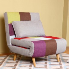 Camber Single Sofa Bed Fabric Multicoloured Patchwork