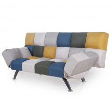 Rathlin 3 Seater Sofa Bed Fabric Mustard & Blue Patchwork