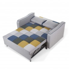 Jerpoint 2 Seater Sofa Bed Fabric Mustard & Blue Patchwork