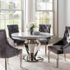 Ernest 4 Person Round Table Stainless Steel & Marble Top