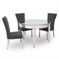 Ashley 4 Person Round Dining Table Mirrored