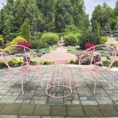 Chantilly 2 Person Outdoor Bistro Set Pink