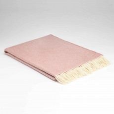 McNutt Supersoft Lambswool Rosebay Herringbone Throw 145cm x 200cm Pink