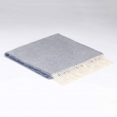 McNutt Supersoft Lambswool Smoke Herringbone Scarf 29cm x 224cm Light Blue & White
