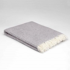 McNutt Supersoft Lambswool Pearl Grey Dash Throw 145cm x 200cm Grey