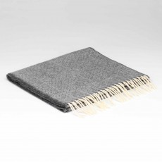 McNutt Supersoft Lambswool Uniform Grey Herringbone Scarf 29cm x 224cm Grey & White