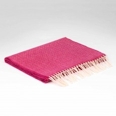McNutt Supersoft Lambswool Raspberry Rose Herringbone Scarf 29cm x 224cm Pink & White