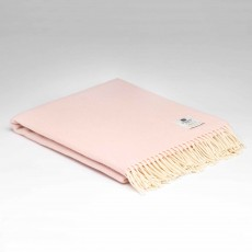 McNutt Supersoft Lambswool Candy Floss Herringbone Throw 145cm x 200cm Light Pink
