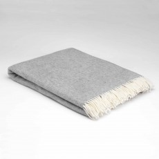 McNutt Supersoft Lambswool Uniform Grey Herringbone Throw 145cm x 200cm Grey & White