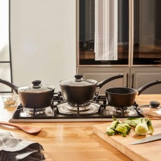 Simply Home Marble Forged Saucepans (Set of 3) Black
