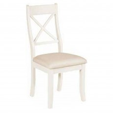 Epping Bedroom Chair Ivory With Fabric Seat Pad Cream