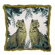 Paoletti Twin Leopard Cushion 45cm x 45cm Teal/Ochre