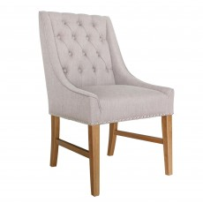 Bellingham Dining Chair With Wings Fabric Linen Buff