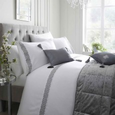Laurence Llewelyn-Bowen Monoglam Duvet Cover Set White & Silver