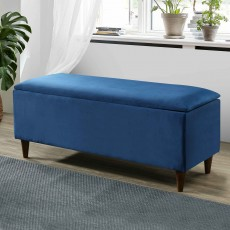 Emma Storage Ottoman Fabric Blue