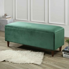 Emma Storage Ottoman Fabric Green