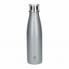 Built 500ml Double Walled Stainless Steel Water Bottle Silver Glitter