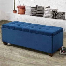 Lily Storage Ottoman Fabric Blue