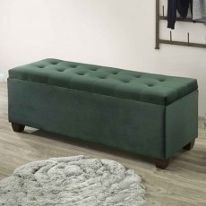 Lily Storage Ottoman Fabric Green
